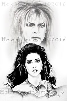 Open Edition Small Print (5 x 7 inches) 'Sarah and Jareth, The Goblin King' David Bowie, The Labyrinth, Starman, Faery, Magical, Fantasy by HelenFaerieArt on Etsy