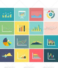 Set of Flat Business Chart Icons ...  abstract, analyzing, arrow, bar, business, chart, column, commercial, computer, concept, data, diagram, document, finance, flat, graph, infochart, information, internet, map, plan, presentation, progress, report, sign, statistics, stock, success, template, vector