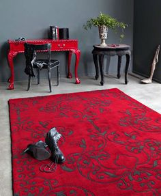 Harlequin Milano Milano Red - Rugs - Buy Milano Red - Rugs Online from Rugs Direct Bedroom Red, Master Bedroom, Bedroom Decor, Bedroom Inspo, Pip Studio, Red And Grey, Red Black, Black Goth, Red Interiors
