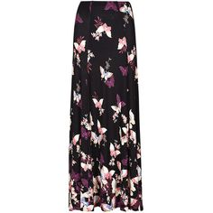 Butterfly Print A-Line Maxi Skirt M&S ($56) ❤ liked on Polyvore featuring skirts, butterfly skirt, ankle length skirt, a line skirt, maxi skirt and long skirts