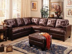 Samuel Brown Leather Sectional Sofa by Coaster - 500911 - I dunno.  I'm not in love, but the price is much lower and it might be OK (that is, if it doesn't sag like an old grey mare after 3 years . . .)  Leather is too shiny, though, which looks cheap, Novou Riche