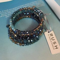 RUSH by Denis & Charles Wrap Bracelet Beautiful shades of blue in very sparkling glass beads. Jewelry Bracelets