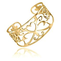 Mondevio 18k Gold over Stainless Steel Filigree Design Cuff Bracelet ($20) ❤ liked on Polyvore