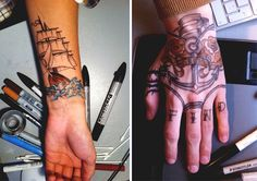 how to make fake tattoos.print the image or draw it onto paper. Trace it onto baking paper. Swipe deodorant onto your skin and press the baking paper onto it. The pencil will transfer onto skin. Make Fake Tattoos, Diy Fake Tattoo, Love Tattoos, Beautiful Tattoos, I Tattoo, Diy Beauty, Beauty Hacks, War Paint, Deodorant
