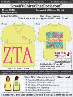 WORK  1 ON 1 with a member of our design team until your ZTA T-Shirt idea is perfect.... then get them on time (before you even need them) at the price you want! ................................................... JUST CLICK THIS IMAGE TO UPLOAD YOUR IDEAS & YOU ARE DONE!!!