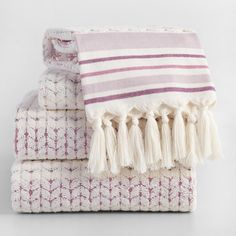 Lavender and Ivory Riley Sculpted Towel Collection -