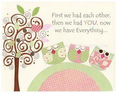 Nursery wall art Baby girl room decor Owls kids by DesignByMaya, $17.00