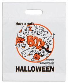 Boo Halloween Bag - 2.5 mil. white plastic bag with fold-over die cut handles and bottom gusset. Stock designs feature educational safety tips. Add your custom imprint to the opposite side of the bag  www.logosurfing.com (800) 728-7192