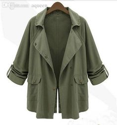 9261eee0bf4 Wholesale-2015 Autumn Winter European woman clothes jackets outerwear for  women army green button coat