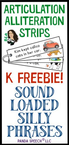 FREE Sound Loaded Sentence Strips for easy practice! Initial, Medial, and final /k/