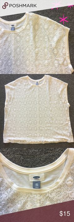 """Old Navy Lace Front Top   Size XXL Like new! Only worn once! White Old Navy boxy top with full lace front design. No snags, stains, or holes. Perfect condition. Waist measures 28"""", length measures 28 1/2"""". It does run big. The lace detail IS SEE THROUGH and would require a cami underneath, but it would look cute with a different color cami to spice it up. Perfectly flirty and lightweight, perfect for summer. Old Navy Tops Blouses"""