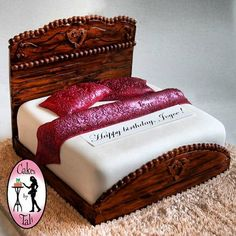 CAKE ART! ~ Very Detailed Wooden Bed Cake ~ all edible
