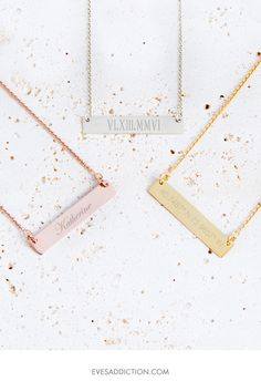 What do you want to engrave? Personalized name bar necklaces are the perfect solution to engrave a name, coordinates or memorable roman numeral date. Simple to customize, create a custom gift online at Eve's Addiction and save 30% today and have the perfect gift delivered to your door in no time. Get free shipping with your order too!