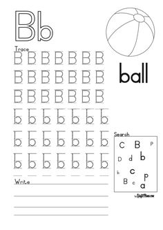English Alphabet Printable Free B for Ball Hindi Worksheets, English Grammar Worksheets, Preschool Writing, Writing Exercises, English Alphabet, Free Printables, Coloring Pages, Afrikaans, Education