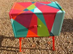 Vibrant and eclectic Carnival Cabinet. Upcycled mid century modern by TwoforJoyuk, £390.00