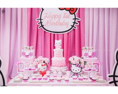 Hello Kitty Dessert Table Set-up|Cake|Cupcakes|Cookies: Sweet PEA by Genesis Sison-Basiao Cakepops: The Cakeroom Photos: Pink A Boo Studio