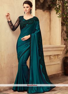 Buy saree online from among a variety of latest designer saree. Order this enticing border work silk classic saree. Trendy Sarees, Stylish Sarees, Fancy Sarees, Party Wear Sarees, Blue Silk Saree, Satin Saree, Art Silk Sarees, Green Saree, Indian Designer Sarees