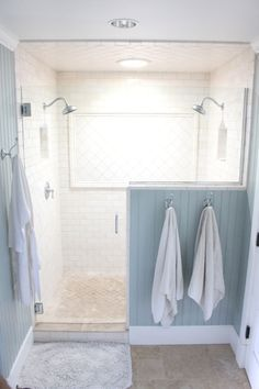 Single shower head only glass above half tile wall, idea for master bath - not  necessarily the colors