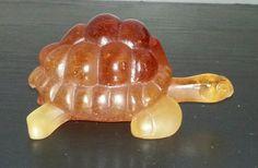 Daum France Pate De Verre Art Glass Tortoise by VintageGlass2014
