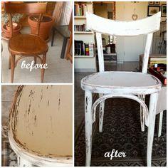 Vecchia sedia rinnovata e lavorata stile shabby
