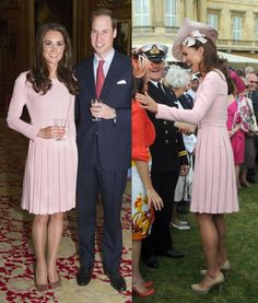 No, you're eyes are not deceiving you. It appears Kate's dress is identical to the pale pink Emilia Wickstead 'Alice' coatdress the Duchess wore for The Queen's Sovereign's Luncheon and The Queen's Garden Party in May 2012. Kate obviously loved the garment and ordered another one from Ms. Wickstead.  It's also entirely possible the pink one was dyed. (Now that's thrifty).
