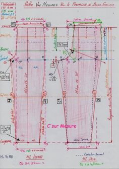 schéma Pantalon de Base avec emplacement mesures !