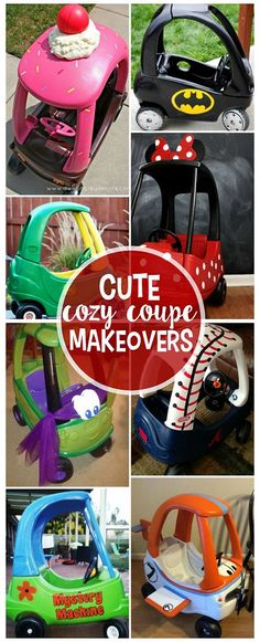 Little tike cozy coupe car makeovers - so cute for kids this summer! Little tike cozy coupe car makeovers - so cute for kids this summer! Projects For Kids, Diy For Kids, Crafts For Kids, House Projects, Preschool Crafts, Diy Projects, Little Tykes Car, Little Tikes Makeover, Cozy Coupe Makeover