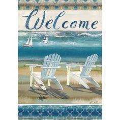 "New /""Seaside/"" Beach Chair Fish Bucket Small Garden Flag 12.5 x 18/"""