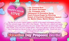 VALENTINE'S DAY PROPOSAL MARTINI - Valentine Cocktail! Click image for the free, full sized recipe card and some Valentine Trivia.
