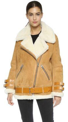 Acne Studios Velocite Suede Shearling Moto Coat #Shopbop