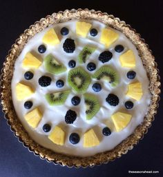 Healthy and easy gluten-free no bake fruit tart dessert with Sunsweet dates, cashews, Chobani greek yogurt and your choice of fresh fruits.