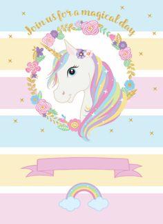 A magia esta chegando dia 14 de fevereiro as na minha casa da cidade venha comemorar meu 5 aninhos de vida Júlia Party Unicorn, Unicorn Themed Birthday Party, Unicorn Birthday Invitations, Party Invitations Kids, Rainbow Unicorn, Unicorn Painting, Unicorn Drawing, Unicorn Art, Unicorn Cake Design
