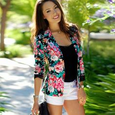 D for Dress helps you to buy amazing  #Dress Online at cheap prices.  New Spring Autumn Floral Blazer #Womens Ladies Stylish Flower Printed Chic Casual One Button Slim #Suit Coat Jacket Blazer #Outwear