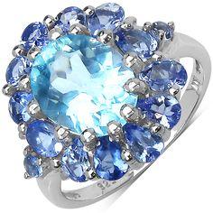 Malaika Sterling Silver 5ct Topaz and Tanzanite Ring