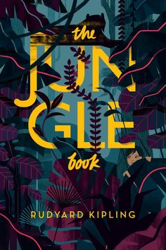 The Jungle Book — Sara Wong-Beautiful colors graphic design Best Book Covers, Beautiful Book Covers, Book Cover Art, Book Art, Graphic Design Typography, Graphic Design Illustration, Book Illustration, Graphic Art, Buch Design