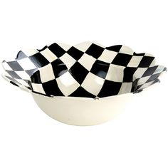 MacKenzie-Childs Courtly Check Petal Serving Bowl (150 BGN) ❤ liked on Polyvore featuring home, kitchen & dining, serveware, round bowl, salad bowl, pasta bowl, pasta serving bowl and dinner bowl