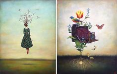 North Carolina-based painter Duy Huynh (previously) infuses his acrylic paintings with whimsical elements of visual storytelling, where a plume of instruments rises from a rushing locomotive and the moon hovers as a balloon tethered to the wrist of a woman. Huynh arrived in the U.S. from Vietnam in