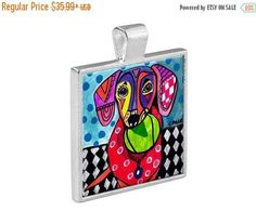 50% Off Today- Dachshund Necklace Doxie Dog Folk Art Jewelry - Pendant Metal Gift Art Heather Galler Gift- Weiner Dog Lovers Abstract Mode