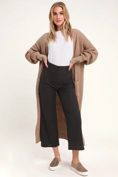 Billabong Back At It - Black Crop Pants - Cotton Wide-Leg Pants Ankle Pants Outfit, Cropped Jeans Outfit, Black Pants Outfit, Wide Leg Cropped Pants, Black Cullotes Outfits, Cullotes Outfit Casual, Sporty Outfits, Hockey Outfits, Athleisure Outfits