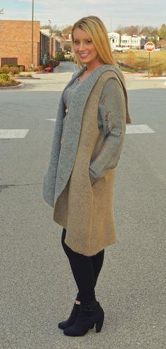 2-Tone Long Knit Hooded Vest | Haute Pink Boutique