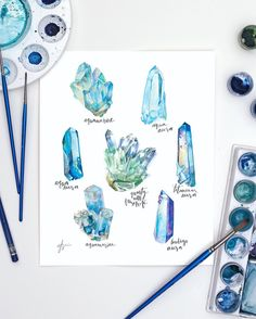 blue crystal watercolors