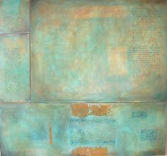 Viaggio Olio su tela con foglia d'oro cm.150x140