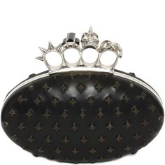 ALEXANDER MCQUEEN | Bags | Exploded studs leather Knuckle Oval Clutch with large crystal stones, spikes and Swarovski crystal detail skull rings. Brass hardware with silver finish. Pre-Spring Summer 2015
