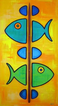 """Painting : """"Fish-Kabob (with Koa skewer)"""" (Original art by Shawn Ardoin) Fabric Painting, Painting On Wood, Original Art, Original Paintings, Diy Art Projects, Stone Crafts, Fused Glass Art, Fish Art, Whimsical Art"""