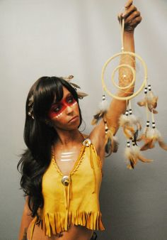 Pocahontas halloween makeup and costume by makeup artist Devon Hillary. Photo credit Lerch Photography.