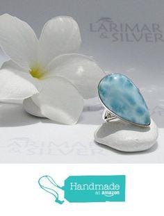 Larimar ring by Larimarandsilver, ring size 6.0, aqua blue Larimar stone, blue pear, pear ring, handmade ring - AZ173 from LarimarAndSilver https://www.amazon.com/dp/B01GWCSEYI/ref=hnd_sw_r_pi_dp_CXgxxb1XNJ32M #handmadeatamazon