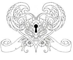 Heart Tattoo by on DeviantArt Coloring Pages For Grown Ups, Heart Coloring Pages, Printable Adult Coloring Pages, Colouring Pages, Coloring Books, Bracelete Tattoo, Totenkopf Tattoo, 1 Tattoo, Tattoo Drawings