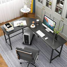 Ktaxon L-Shaped Computer Desk Corner PC Latop Table Study Office Workstation Black Home Office Setup, Study Office, Home Office Desks, Office Ideas, Office Decor, Loft Office, Small Office, Office Furniture, Office Music