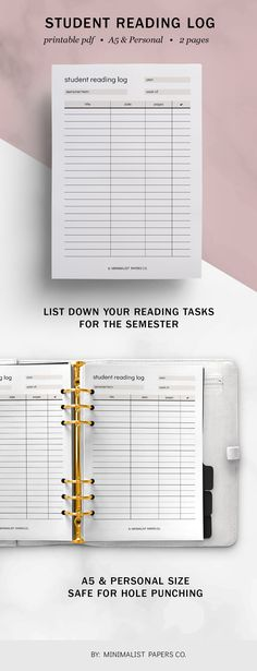 Minimalist Student Reading Log, Reading Planner, Student Planner, Reading Printable, Book Log Printable - A5 & Personal Size For Individual Who Loves Minimalistic And Clean Design, Instant Download! #studentplanners #readinglog #studentplanner #readingplanner #readingtracker #etsyplanners #readinglog Reading Log Printable, Printable Planner, Printables, Reading Tracker, Book Log, Planner Dividers, Reading Logs, Student Planner, Student Reading