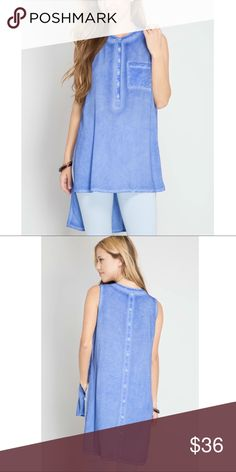 👚Tropical Top👚 Sleeveless Hi-Low pigment washed Top with back played. 70% cotton 30% polyester WOVEN TOP Tops Blouses